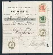 1888 Sweden 20ore + 5ore Ring Type Postanvising Form Goteborg Filial - Borgholm / Walboke