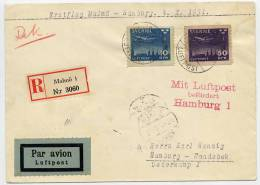 SWEDEN 1931 First Flight Cover Malmö - Hamburg 4.10.31 With Michel 213-14 - Airmail