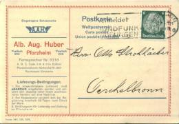 PERFIN FIRMENLOCHUNG 1935 Alb. Aug. HUBER PFORZHEIM - Deutschland