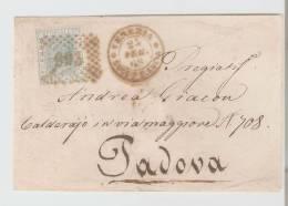 Busta     Venezia Succ.S.Lucia – Padova 1868,  Numerale A Punti N.  993 - Storia Postale