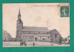GUIPRY  (35)   L'  Eglise  Et  La  Place     Animée - Autres Communes