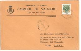 VALGIOIE  10090  PROV. TORINO  - ANNO 1978  - LS  -  TEMA TOPIC COMUNI D´ITALIA - STORIA POSTALE - Affrancature Meccaniche Rosse (EMA)