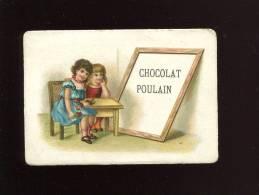 THE MELANGE POULAIN JOLIE CHROMO GAUFREE RELIEF ENFANT FILLETTE ARDOISE ECOLE - Poulain