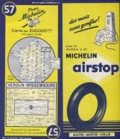 FRANCE  Carte VERDUN / WISSEMBOURG - N° 57 -  Pneu MICHELIN - 1953    (2798) - Cartes Routières