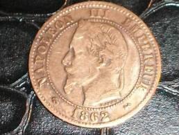 2 Centimes Napoleon III Tete Laurée Broze 1862 K - B. 2 Centimes