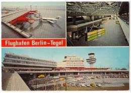 TRANSPORT AERODROME TEGEL BERLIN GERMANY BIG CARD OLD POSTCARD - Aerodrome