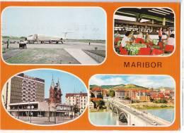 TRANSPORT AERODROME MARIBOR SLOVENIA YUGOSLAVIA BIG CARD OLD POSTCARD 1977. - Aerodrome