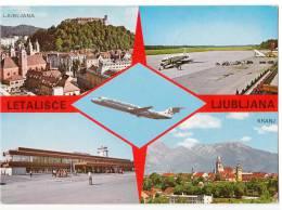 TRANSPORT AERODROME LJUBLJANA SLOVENIA YUGOSLAVIA BIG CARD OLD POSTCARD - Aerodrome