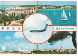 TRANSPORT AERODROME PULA CROATIA YUGOSLAVIA BIG CARD OLD POSTCARD 1978. - Aerodrome