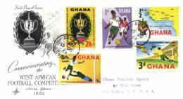 Ghana 1959 Mi. 63-67 Registered FDC, West-African Football Competition, Map, Cup, Soccer Players, Goalkeeper - Ghana (1957-...)