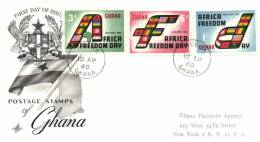 Ghana 1960 Mi. 77-79 Registered FDC, Africa Freedom Day, Flags Of The Independent African States - Ghana (1957-...)