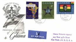 Ghana 1960 Mi. 88-90 FDC, Founder's Day, President Nkrumah, Map Of Africa, Star, Column - Ghana (1957-...)