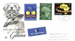 Ghana 1961 Mi. 94-96 FDC, Africa Freedom Day, Map Of Africa, Flags, Stars, Drums - Ghana (1957-...)
