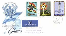 Ghana 1961 Mi. 100-102 Registered FDC, 1 Year Republic, Flag, Column - Ghana (1957-...)