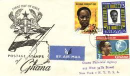 Ghana 1961 Mi. 106-108 Registered FDC, President Nkrumah, Globe, Textile - Ghana (1957-...)