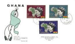 Ghana 1961 Mi. 109-111 Registered FDC, Visit Of Queen Elisabeth II To Ghana, Map Of Africa - Ghana (1957-...)