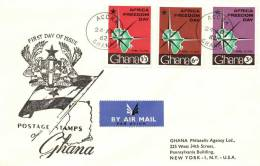 Ghana 1962 Mi. 118-120 FDC, Africa Freedom Day, Compass And Map Of Africa - Ghana (1957-...)