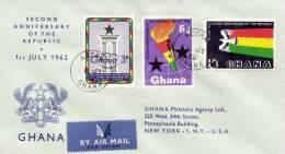 Ghana 1962 Mi. 127-129 FDC, 2 Year Republic, Column, Torch, Eagle - Ghana (1957-...)