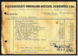 1952 Rechnung Schönfels / Sa. Bei Zwickau - Von Baugeschäft Hermann Möckel - Deutschland