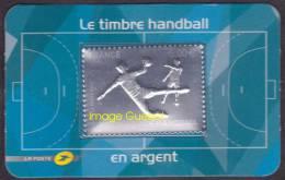 France Autoadhésif N°  738 ** Handball - Gravé à Chaud 5.00 Euros Argent - Joueur Ballon - Adhésifs (autocollants)