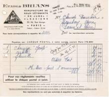 1939 ETS BRIANS MANUFACTURE DE SOUS-VETEMENTS EN JUMEL ALSACIENS RUE MONGE PARIS A Mr BOUCLIER BEAUBERY GARE SAONE & - 1900 – 1949