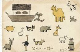 L´ Arche De Noé Par Simone De Chicourt Peinte Main Hand Painted Chevre, Singe, Cochon, Lapin - Animaux & Faune