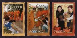 Laos 2007  MNH ** Takbat ( Alms Giving )   Scott 1716A-1716C  Y & T 1661 - 1663   Michel 2038 - 2040 - Laos