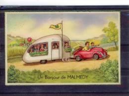*CP Malmedy.Un Bonjour.carte A Système. - Malmedy