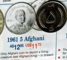 AFGHANISTAN 5 AFGHANI WHEAT LEAVES FRONT KING  MAN HEAD BACK 1381-1961 VF KM? READ DESCRIPTION CAREFULLY !!! - Afghanistan