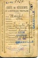 Carte De Vêtements Et D´articles Textiles Granville 1942 - Oorlog 1939-45