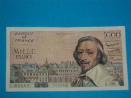 Billet ) 1000 Richelieu Du 5 / 9 / 1957 - Date Tres Rare - Env 10 épinglages  - Marques De Plis En Quatre - Pas De Coupe - 1871-1952 Gedurende De XXste In Omloop