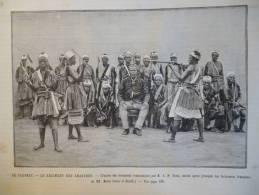 Au Dahomey , Régiment Des Amazones , Gravure De Gusman 1890 - Documenti Storici