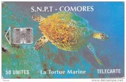 Comoros, COM-10b, 50Units, Marine Turtle, Red BN Centre - Comoros