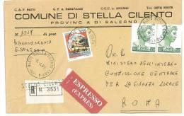 STELLA CILENTO  84070  PROV. SALERNO  - ANNO 1981  -  R EXP   - STORIA POSTALE DEI COMUNI D´ITALIA - POSTAL HISTORY - Affrancature Meccaniche Rosse (EMA)