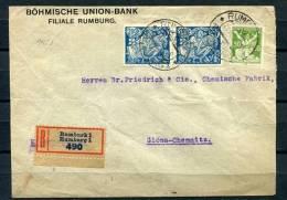 Chechoslovakia 1923 Register Cover+ Label  Rumburk-Glosa-Chemnitz - Czechoslovakia