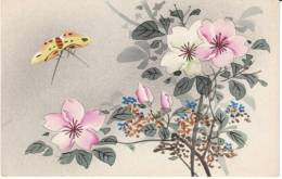 Japanese Graphic Design, Butterfly Plants Flowers Unsigned Artist, C1900s Vintage Postcard - Papillons