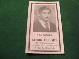 A-3-2-105 Remerciement Décès Camille Debodt Couillet  1928 1946 Offert Par La Jeunesse De L'Amérique - Décès