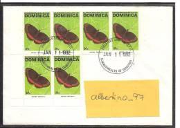 Dominica Schmetterlinge DS  . 1991 Wert Zu 10 Cent MeF -Brief Nach Deutschland  Von 1992 - Schmetterlinge