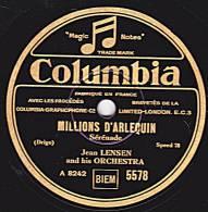 """78 Tours - Columbia  5578 - Jean LENSEN - MILLIONS D""""ARLEQUIN - SI MES VERS AVAIENT DES AILES - 78 Rpm - Schellackplatten"""