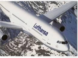 TRANSPORT AIRPLANE LUFTHANSA AIRBUS A 340-200 GERMANY BIG CARD OLD POSTCARD - 1946-....: Moderne