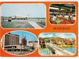 TRANSPORT AERODROME MARIBOR SLOVENIA YUGOSLAVIA BIG CARD OLD POSTCARD 1983. - Aerodrome