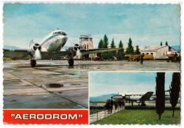 TRANSPORT AERODROME TITOGRAD MAKEDONIA YUGOSLAVIA BIG CARD OLD POSTCARD 1972. - Aerodrome