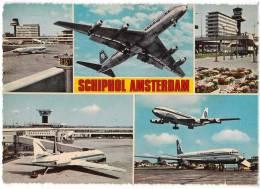 TRANSPORT AERODROME SCHIPHOL AMSTERDAM HOLLAND BIG CARD OLD POSTCARD 1969. - Aerodrome