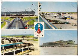 TRANSPORT AERODROME ORLY PARIS FRANCE BIG CARD JAMMED OLD POSTCARD 1967. - Aerodrome