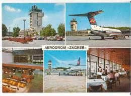 TRANSPORT AERODROME ZAGREB CROATIA YUGOSLAVIA BIG CARD OLD POSTCARD - Aerodrome