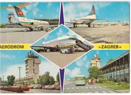 TRANSPORT AERODROME ZAGREB CROATIA YUGOSLAVIA BIG CARD JAMMED OLD POSTCARD - Aerodrome