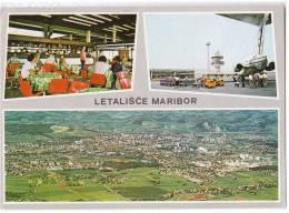 TRANSPORT AERODROME MARIBOR SLOVENIA YUGOSLAVIA BIG CARD OLD POSTCARD - Aerodrome