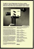 Reklame Werbeanzeige 1968 ,  Nizo Filmkamera  -  Es Gibt Nur Eine Möglichkeit Die Zeit Zu Raffen - Caméscope