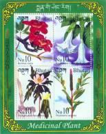 MEDICINAL PLANT SERIES 4 STAMP MINIATURE SHEET BHUTAN 2002 MINT MNH - Planten
