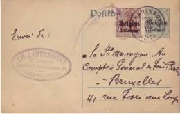 Entier Ganzsache 5 Cent. De Charleroy à Bruxelles (20/7/1916) Avec Timbre Additionnel OC1 (3 Centimes) - Bezetting 1914-18